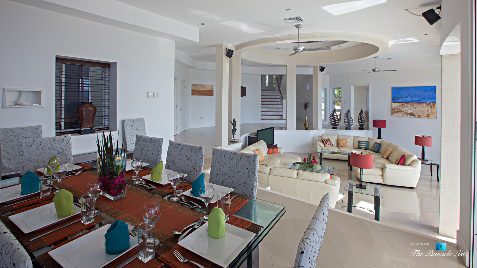 Akasha Luxury Caribbean Villa – Cap Estate, St. Lucia – Dining and Living Room – Luxury Real Estate – Premier Oceanview Home