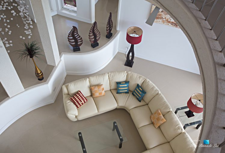 Akasha Luxury Caribbean Villa - Cap Estate, St. Lucia - Looking Down Living Room - Luxury Real Estate - Premier Oceanview Home