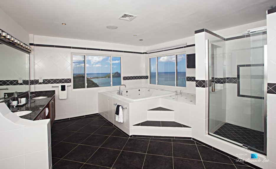 Akasha Luxury Caribbean Villa - Cap Estate, St. Lucia - Master Bathroom - Luxury Real Estate - Premier Oceanview Home
