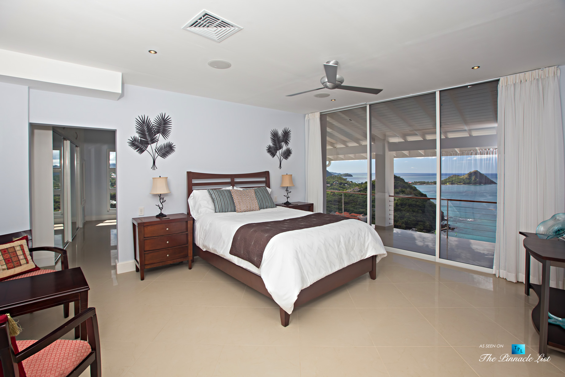 Akasha Luxury Caribbean Villa - Cap Estate, St. Lucia - Bedroom with Ocean View - Luxury Real Estate - Premier Oceanview Home