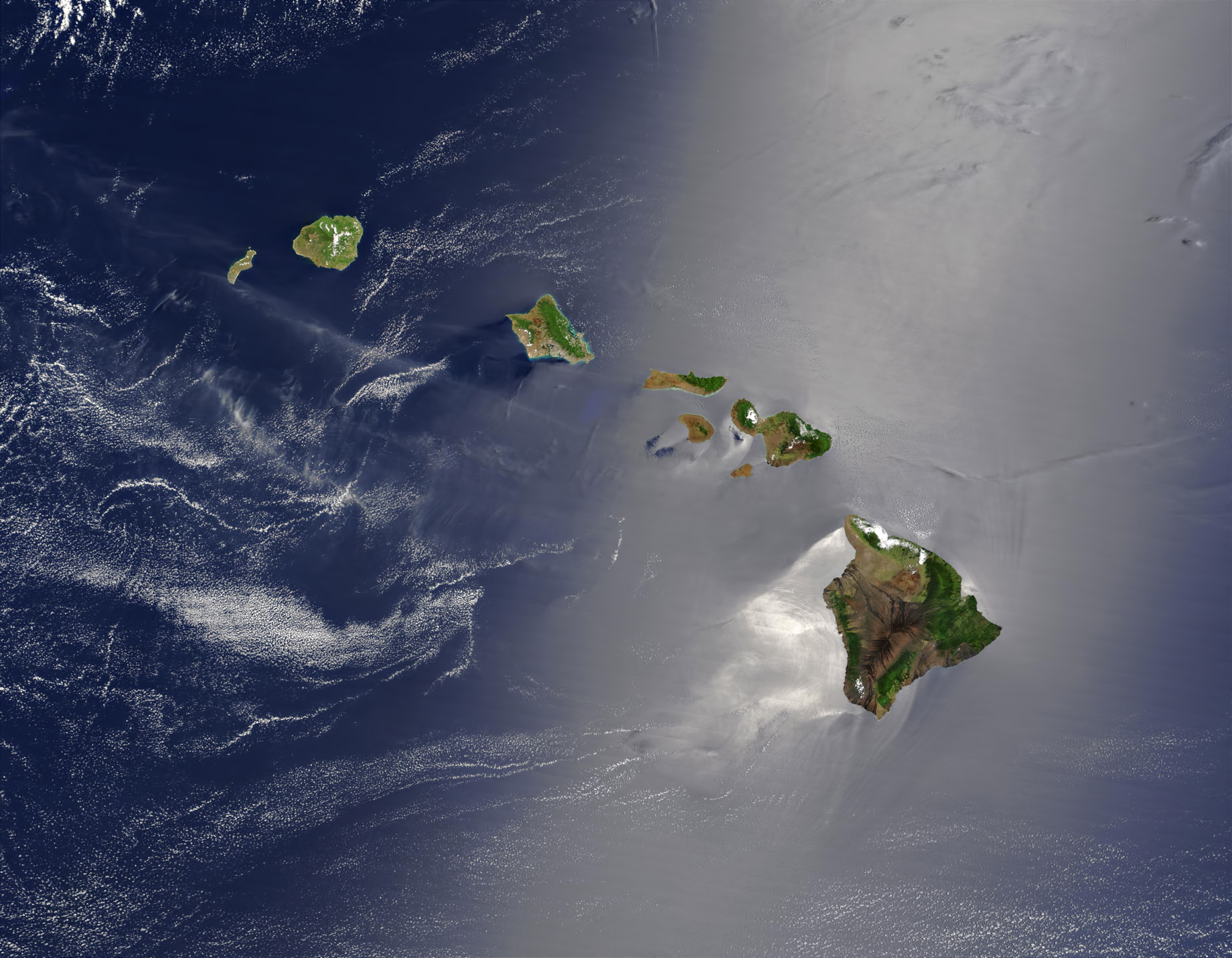 Hawaiian Islands Satellite Image From Space - Lanai - The Most Expensive Private Island Real Estate Transaction in History