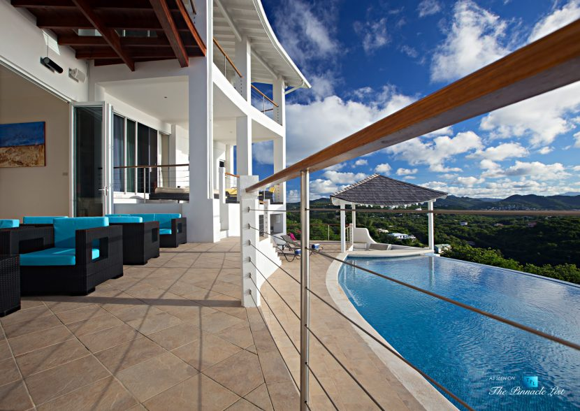 Akasha Luxury Caribbean Villa - Cap Estate, St. Lucia - Infinity Pool Deck View - Luxury Real Estate - Premier Oceanview Home