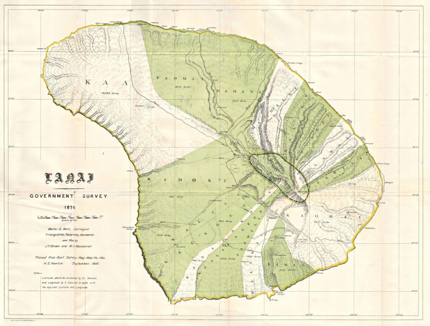 1878 US Government Land Office Map of Lanai, Hawaii - The Most Expensive Private Island Real Estate Transaction in History