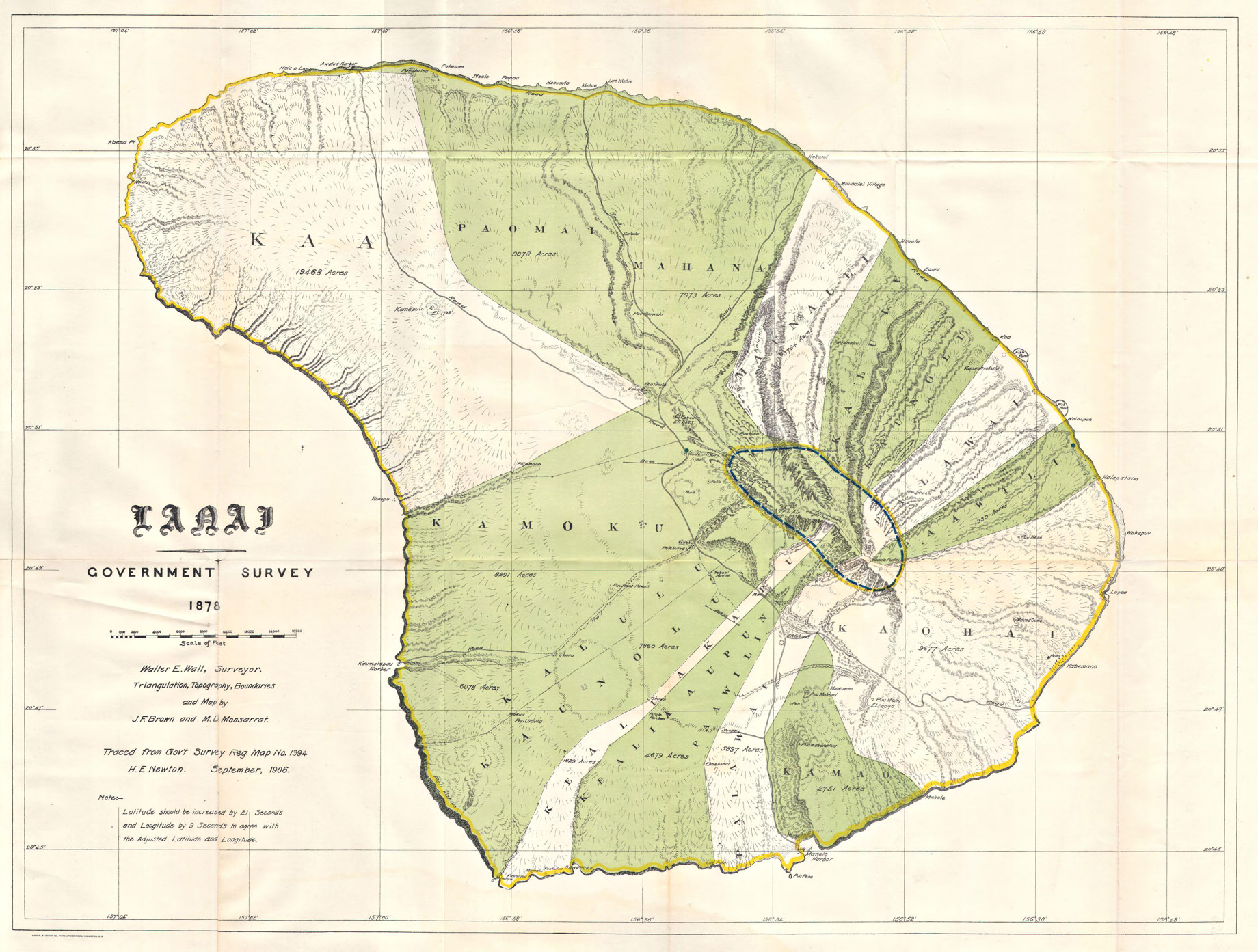 1878 US Government Land Office Map of Lanai, Hawaii – The Most Expensive Private Island Real Estate Transaction in History