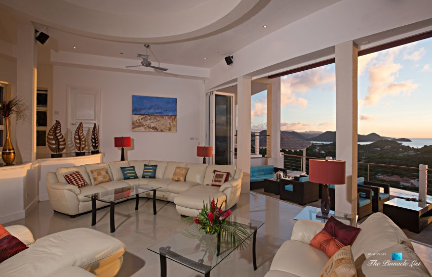 Akasha Luxury Caribbean Villa - Cap Estate, St. Lucia - Living Room - Luxury Real Estate - Premier Oceanview Home