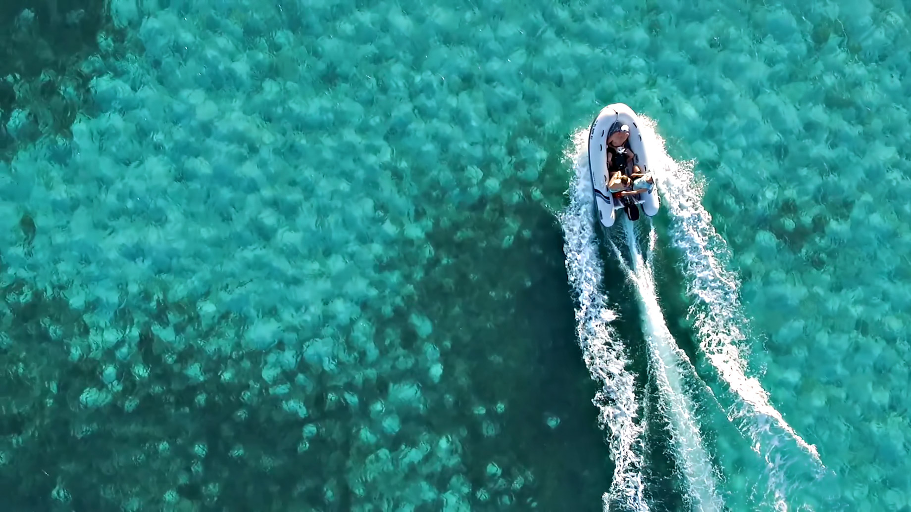 Boating on Crystal Clear Tropical Waters in the Bahamas