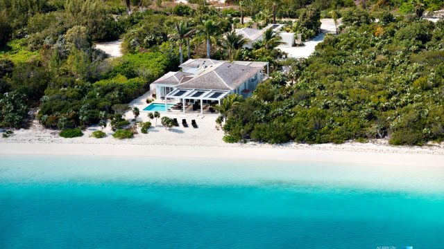 Villa Aquazure - Providenciales, Turks and Caicos Islands - Drone Aerial View - Luxury Real Estate - Beachfront Home