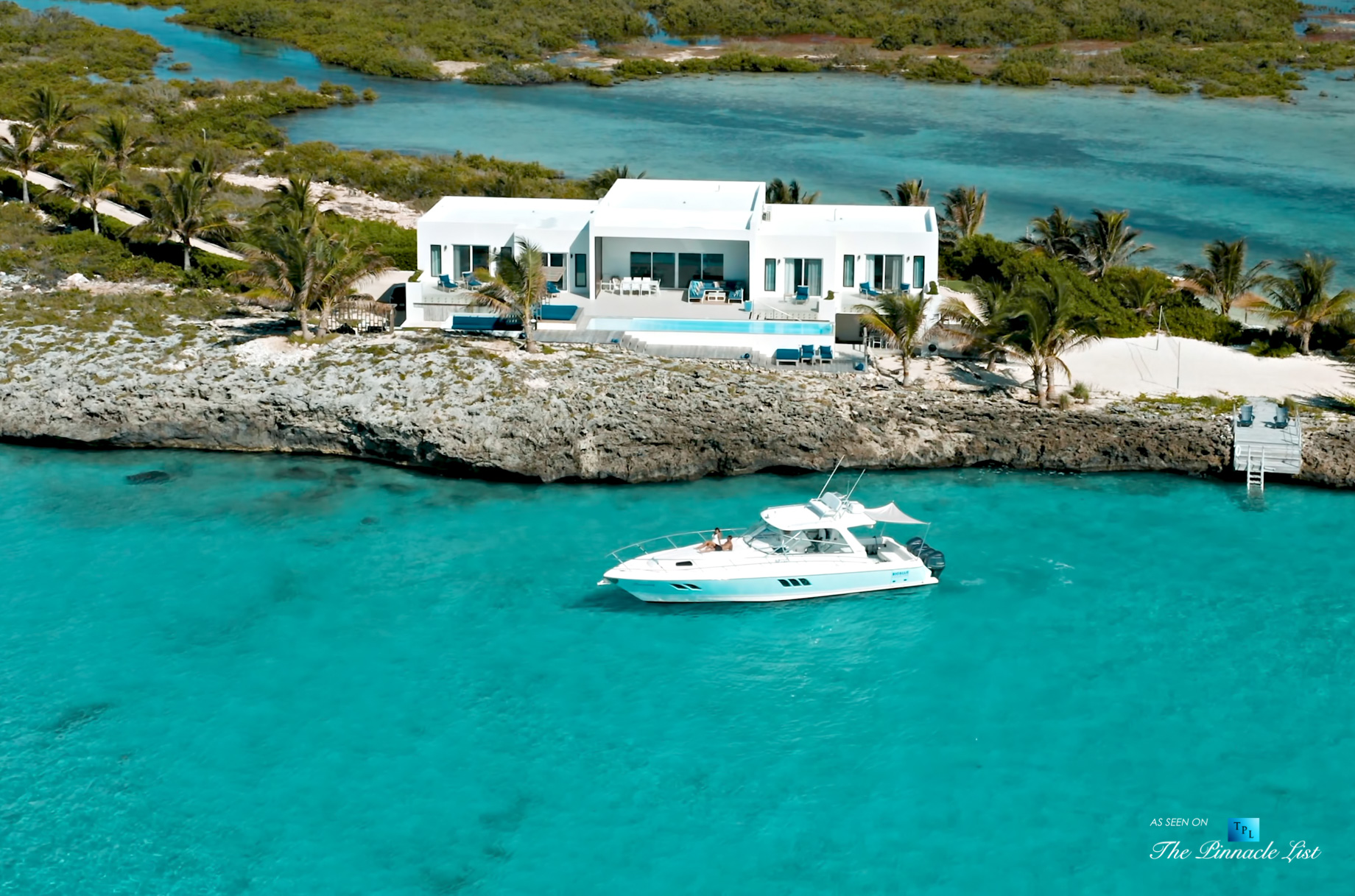 Tip of the Tail Villa – Providenciales, Turks and Caicos Islands – Aerial View with Yacht – Luxury Real Estate – South Shore Peninsula Home