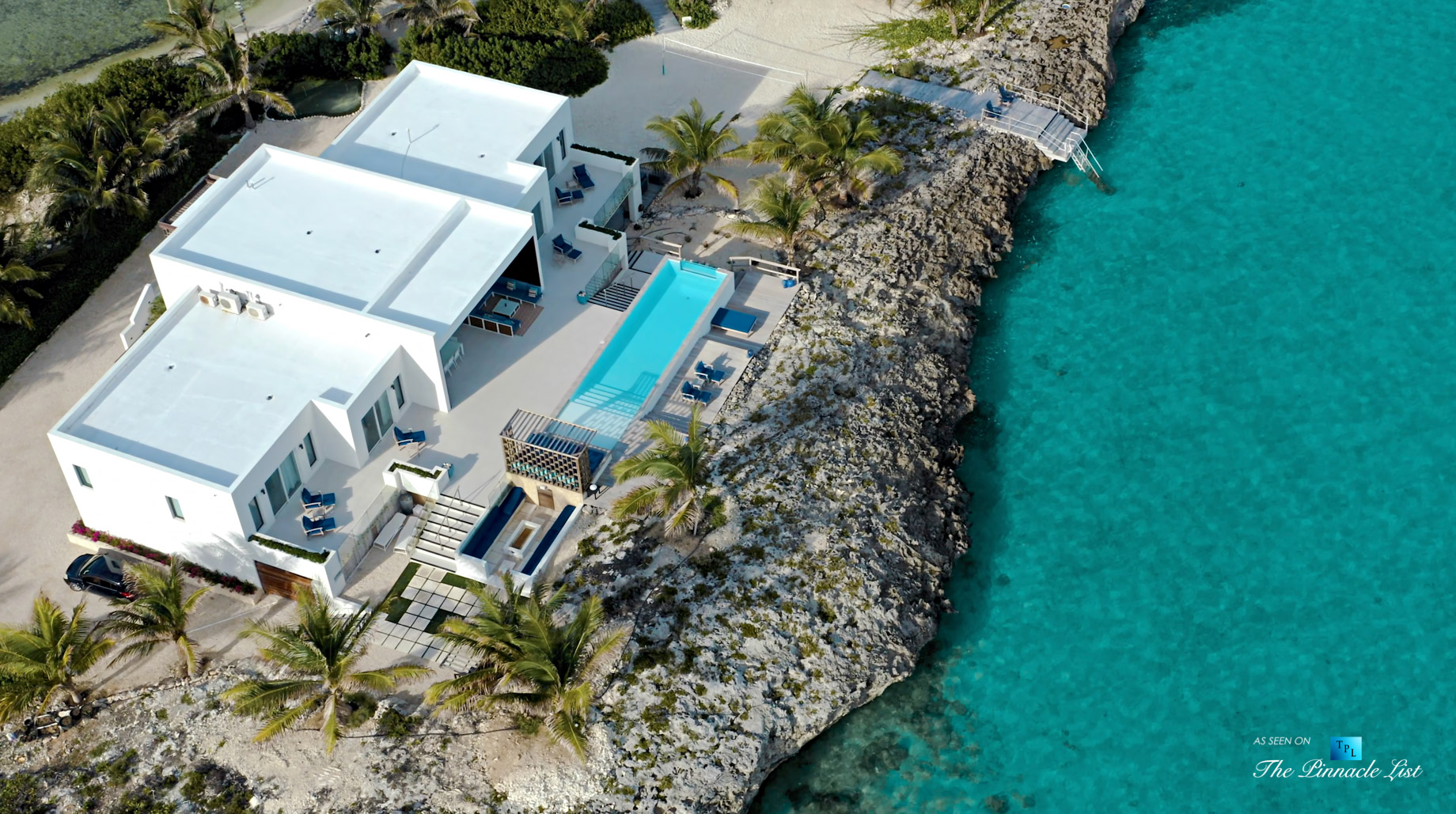 Tip of the Tail Villa - Providenciales, Turks and Caicos Islands - Drone Aerial View - Luxury Real Estate - South Shore Peninsula Home