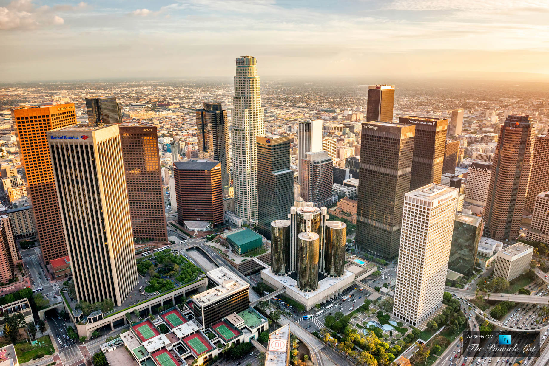 Aerial View of Office Towers - Downtown Los Angeles, California, USA