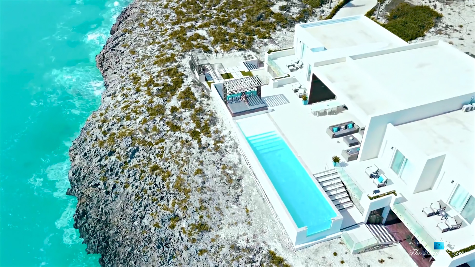 Tip of the Tail Villa – Providenciales, Turks and Caicos Islands – Drone Aerial Caribbean House Infinity Pool Deck – Luxury Real Estate – South Shore Peninsula Home