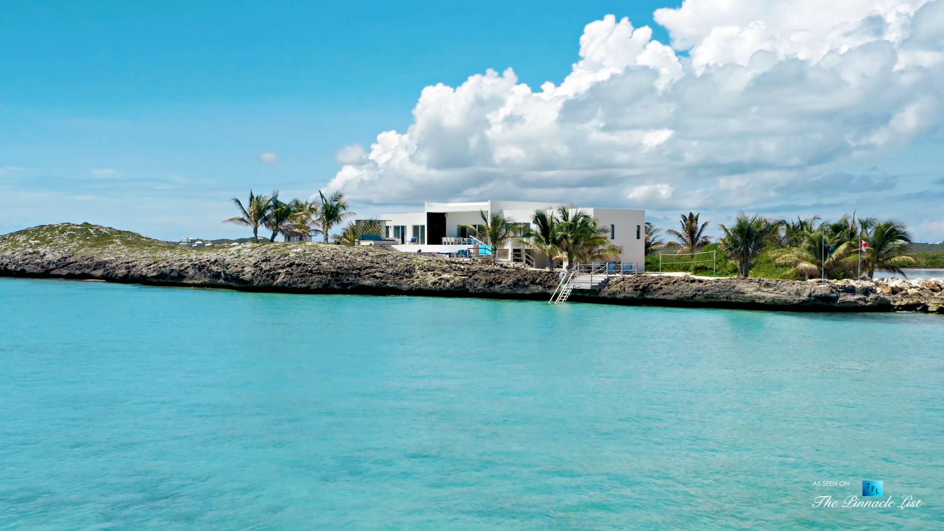 Tip of the Tail Villa – Providenciales, Turks and Caicos Islands – Drone Aerial Caribbean Oceanfront Villa – Luxury Real Estate – South Shore Peninsula Home