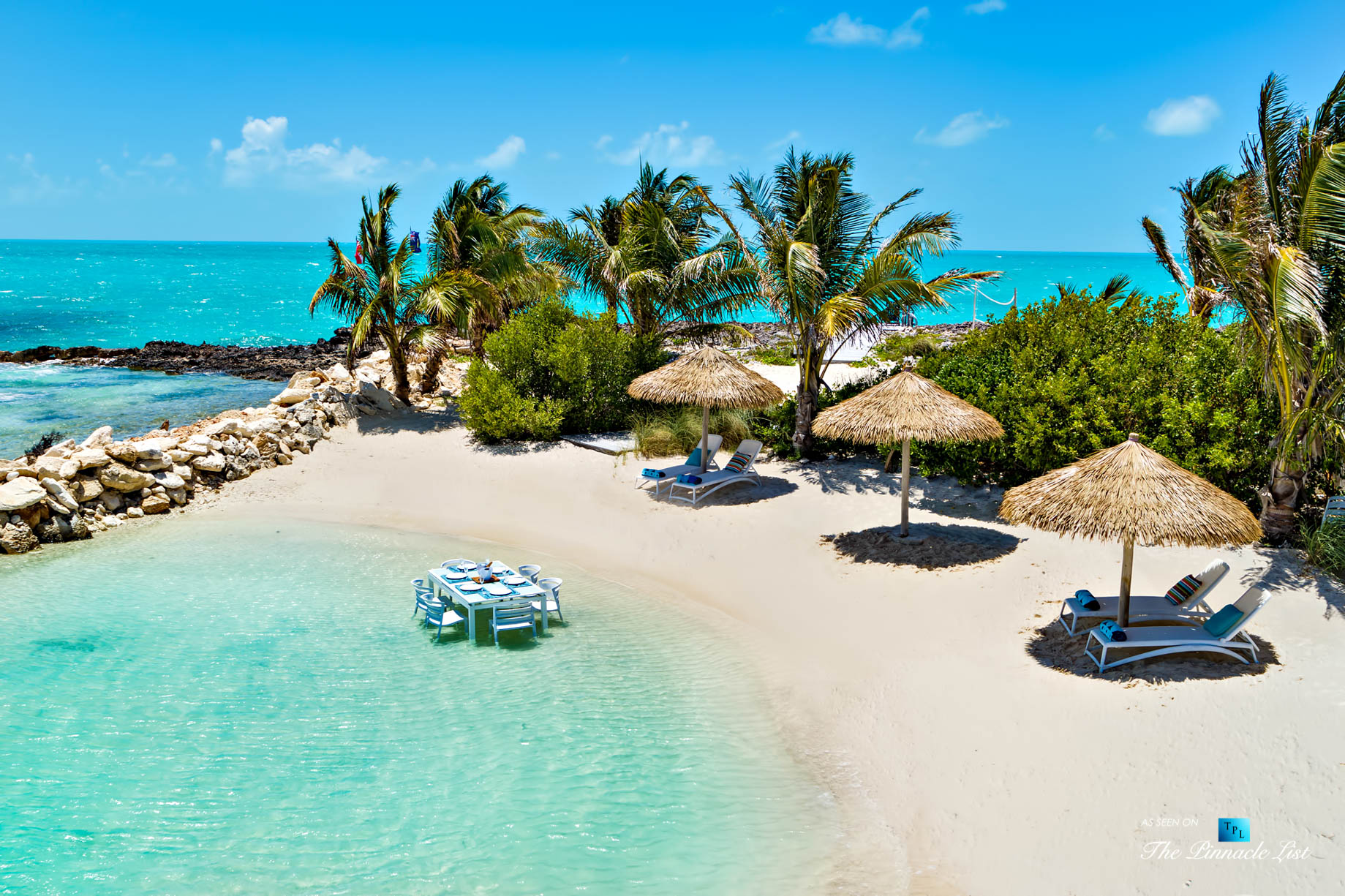 Tip of the Tail Villa – Providenciales, Turks and Caicos Islands – Caribbean Villa Private Beach Table in Water – Luxury Real Estate – South Shore Peninsula Home