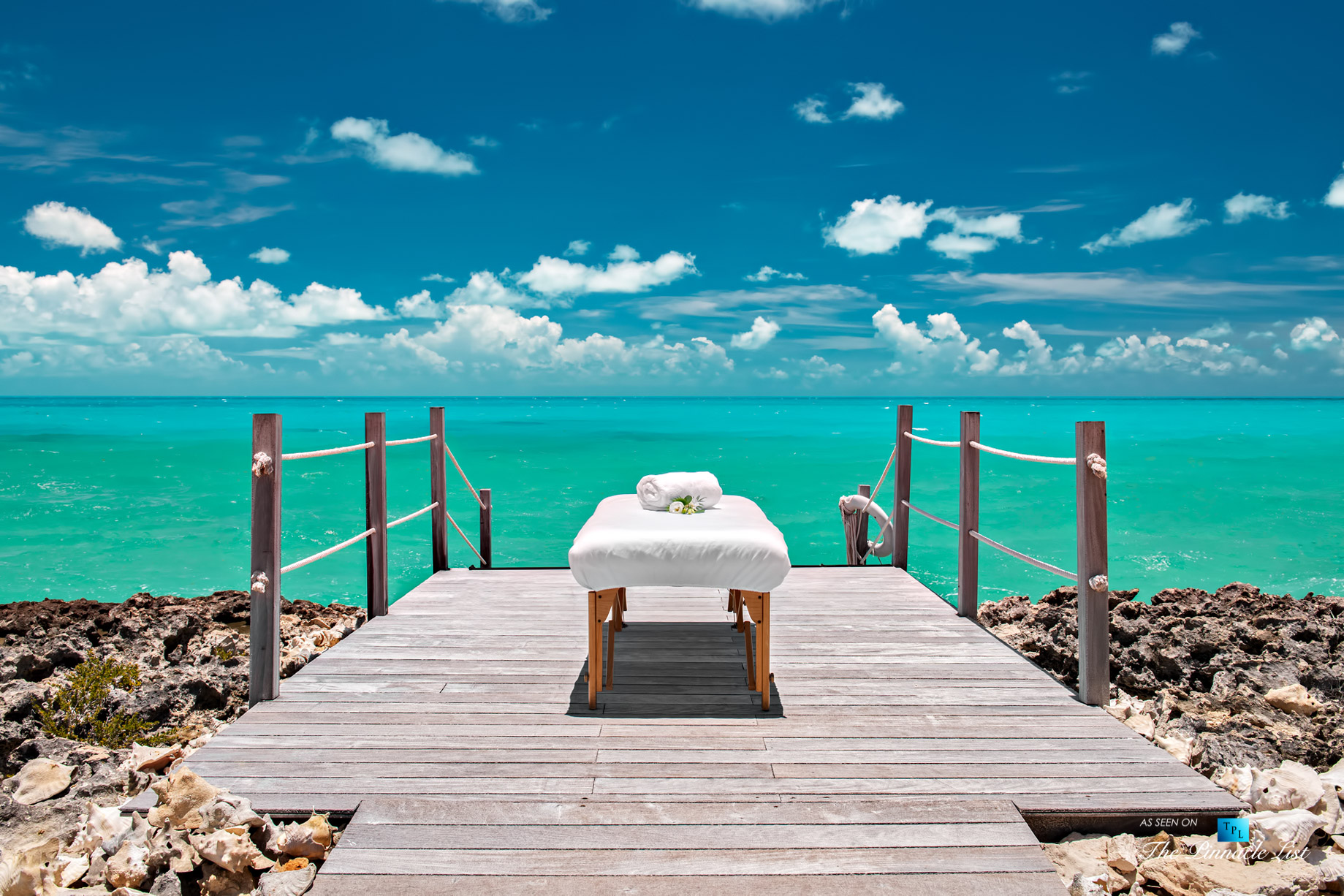 Tip of the Tail Villa – Providenciales, Turks and Caicos Islands – Caribbean Villa Oceanfront Massage Table – Luxury Real Estate – South Shore Peninsula Home