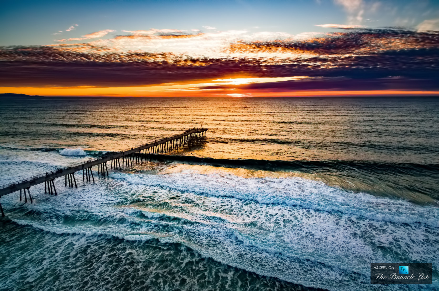 Sunset Aerial View of Hermosa Beach Pier - 1 Pier Ave, Hermosa Beach, CA 90254, USA