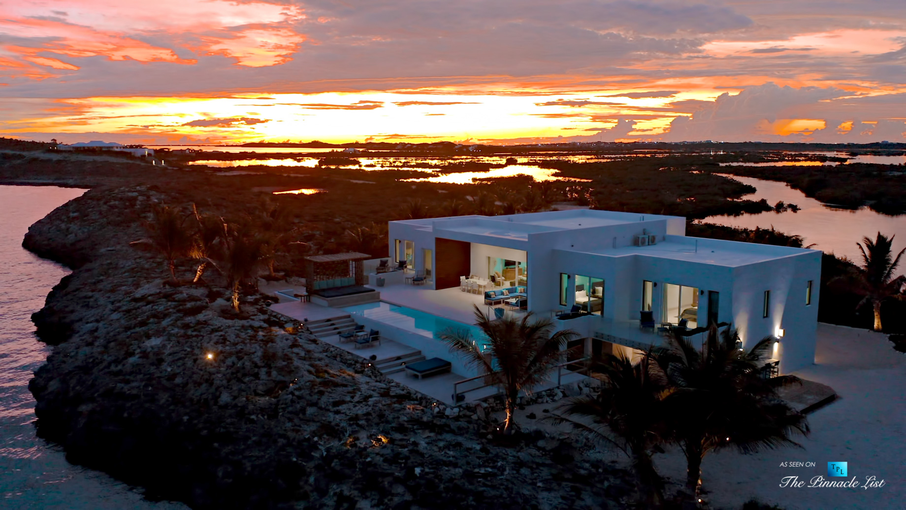Tip of the Tail Villa – Providenciales, Turks and Caicos Islands – Aerial Caribbean Villa Oceanfront Sunset View – Luxury Real Estate – South Shore Peninsula Home