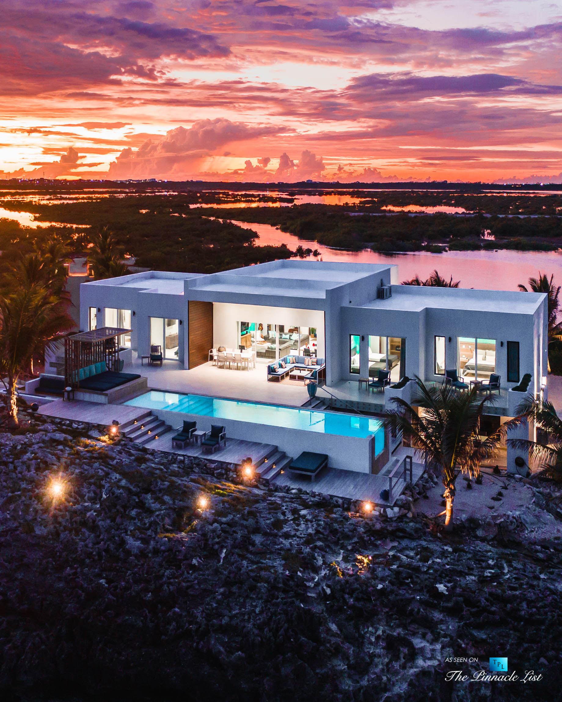 Tip of the Tail Villa – Providenciales, Turks and Caicos Islands – Caribbean Villa Oceanfront Sunset View – Luxury Real Estate – South Shore Peninsula Home