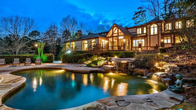 75 Finch Forest Trail, Atlanta, GA, USA - Night House and Property View - Luxury Real Estate - Sandy Springs Home