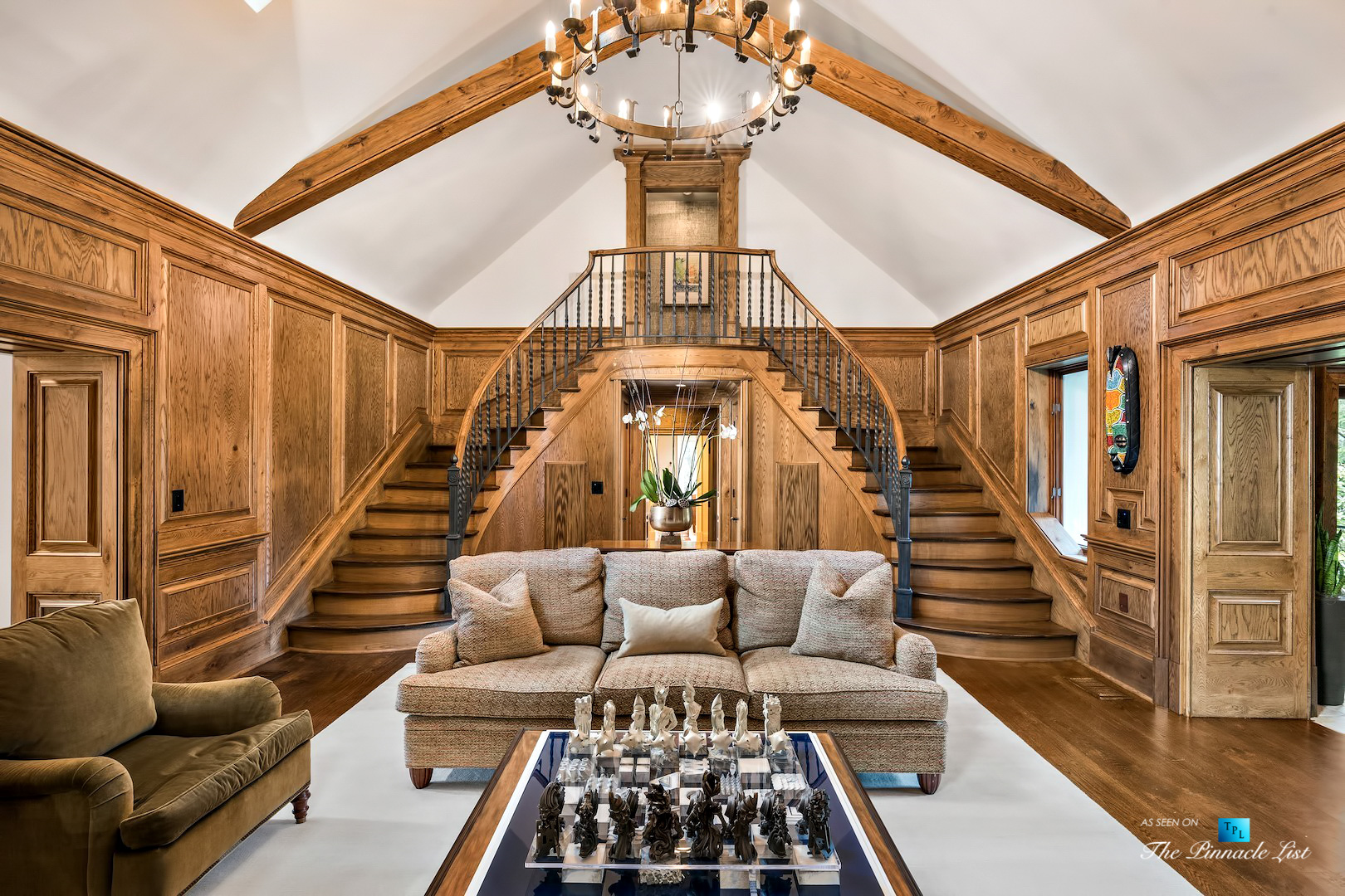 75 Finch Forest Trail, Atlanta, GA, USA - Front Sitting Area and Staircase - Luxury Real Estate - Sandy Springs Home
