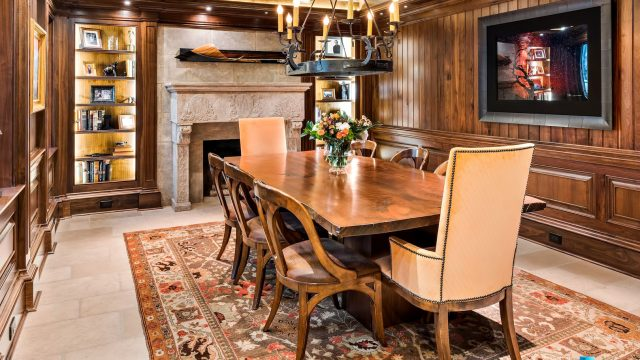 75 Finch Forest Trail, Atlanta, GA, USA - Dining Room Fireplace - Luxury Real Estate - Sandy Springs Home