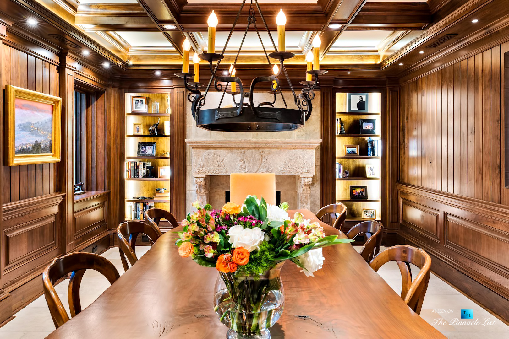 75 Finch Forest Trail, Atlanta, GA, USA – Dining Room Fireplace – Luxury Real Estate – Sandy Springs Home