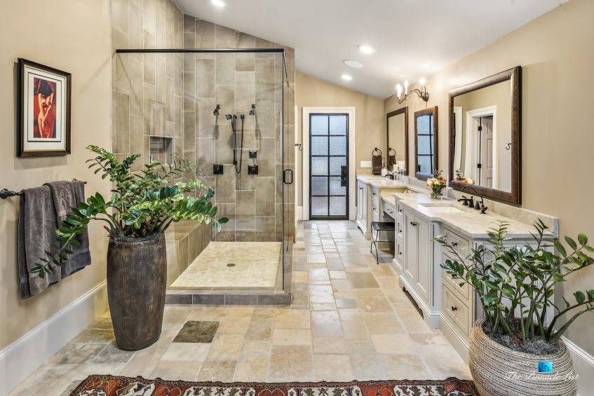 75 Finch Forest Trail, Atlanta, GA, USA - Master Bathroom with Glass Walled Shower - Luxury Real Estate - Sandy Springs Home