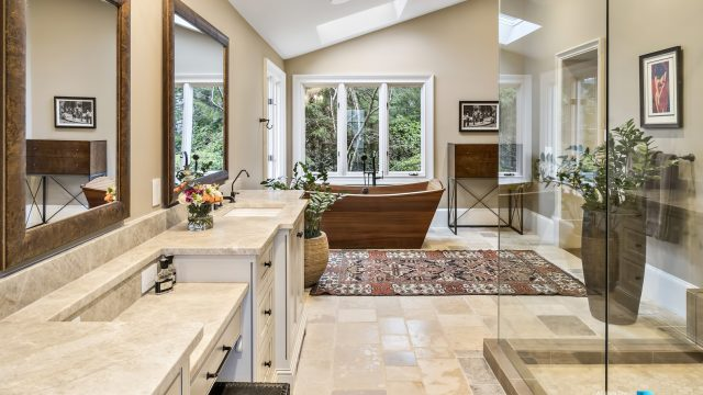 75 Finch Forest Trail, Atlanta, GA, USA - Master Bathroom with Freestanding Wood Tub - Luxury Real Estate - Sandy Springs Home