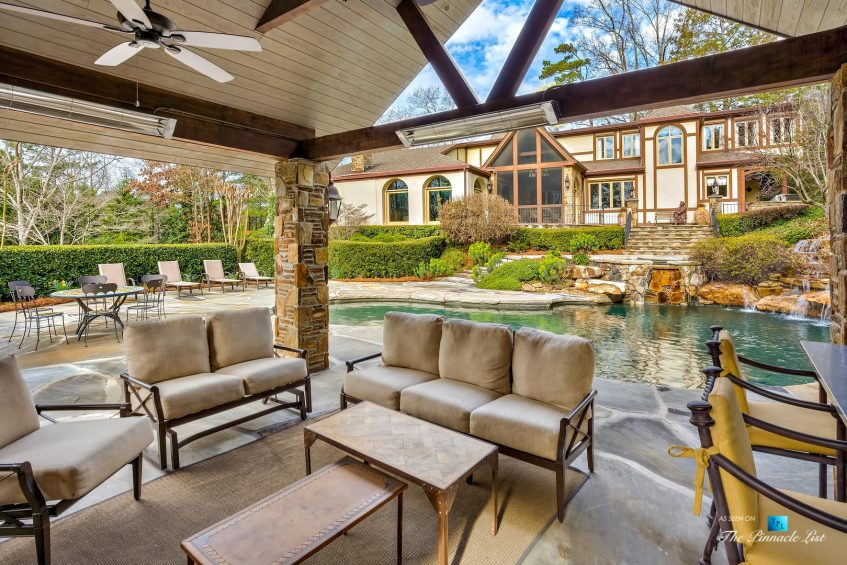 75 Finch Forest Trail, Atlanta, GA, USA - Covered Outdoor Pool Deck - Luxury Real Estate - Sandy Springs Home