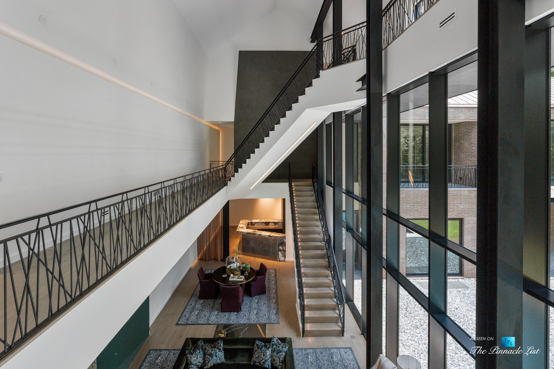 2716 Ridgewood Rd NW, Atlanta, GA, USA – Stairs and Living Room – Luxury Real Estate – Modern Contemporary Buckhead Home