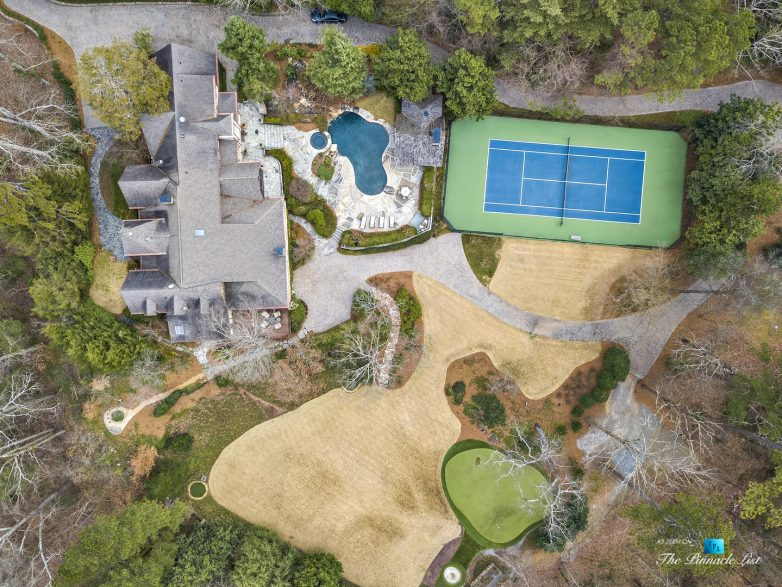 75 Finch Forest Trail, Atlanta, GA, USA - Drone Aerial Overhead Property View - Luxury Real Estate - Sandy Springs Home