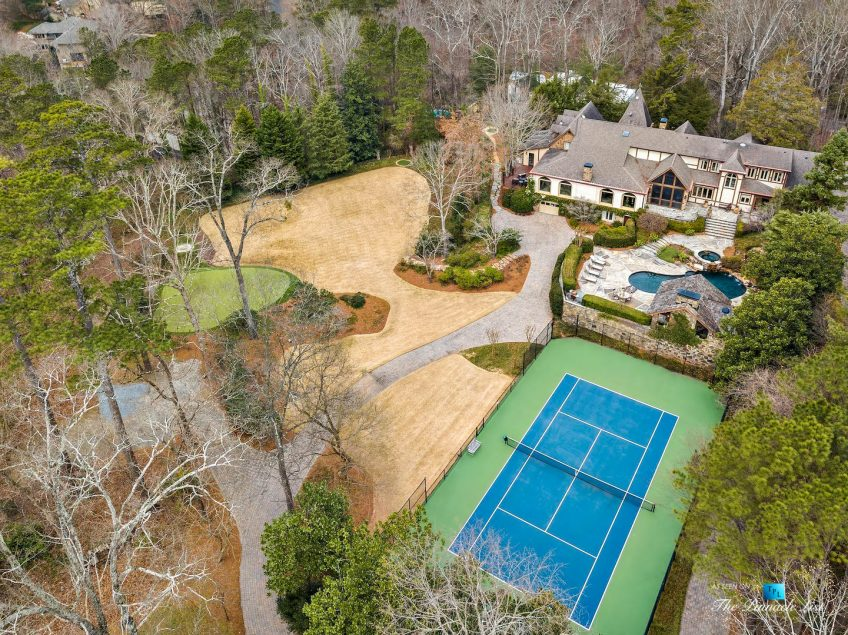 75 Finch Forest Trail, Atlanta, GA, USA - Drone Aerial Backyard Property View - Luxury Real Estate - Sandy Springs Home