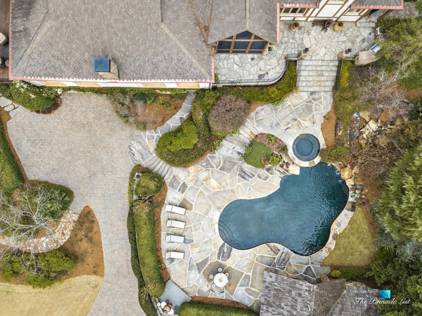 75 Finch Forest Trail, Atlanta, GA, USA - Drone Aerial Overhead Pool View - Luxury Real Estate - Sandy Springs Home