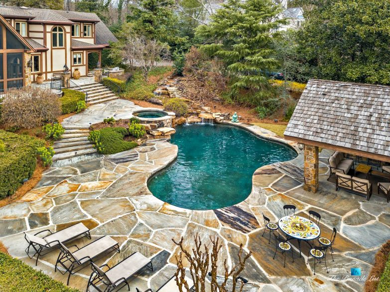 75 Finch Forest Trail, Atlanta, GA, USA - Drone Aerial Pool View - Luxury Real Estate - Sandy Springs Home