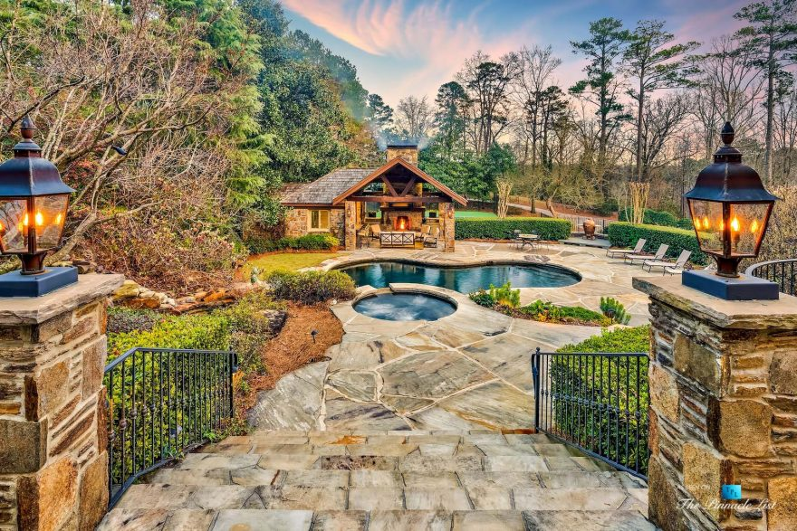 75 Finch Forest Trail, Atlanta, GA, USA - Sunset Backyard Pool View - Luxury Real Estate - Sandy Springs Home