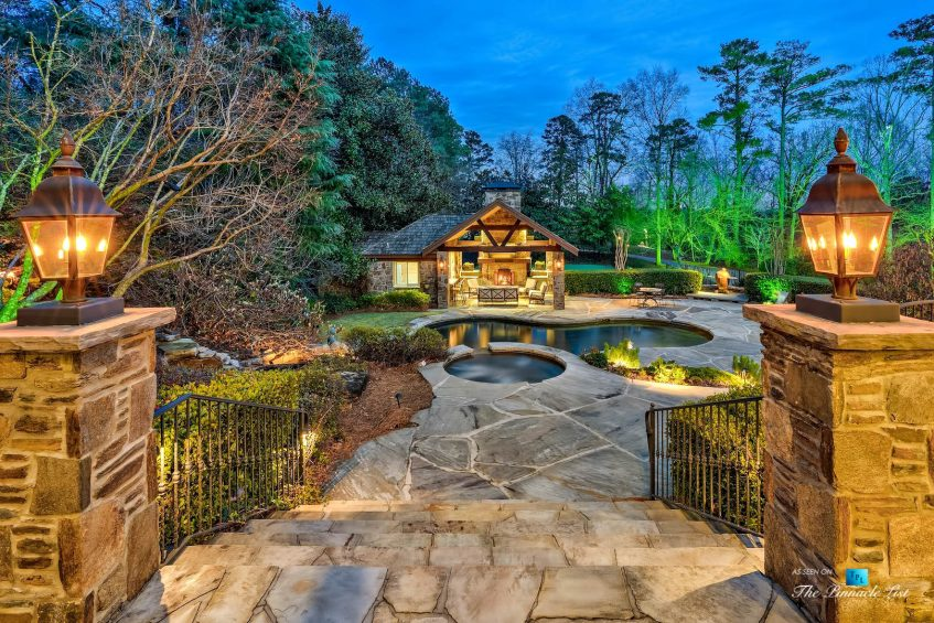 75 Finch Forest Trail, Atlanta, GA, USA - Twilight Backyard Pool View - Luxury Real Estate - Sandy Springs Home