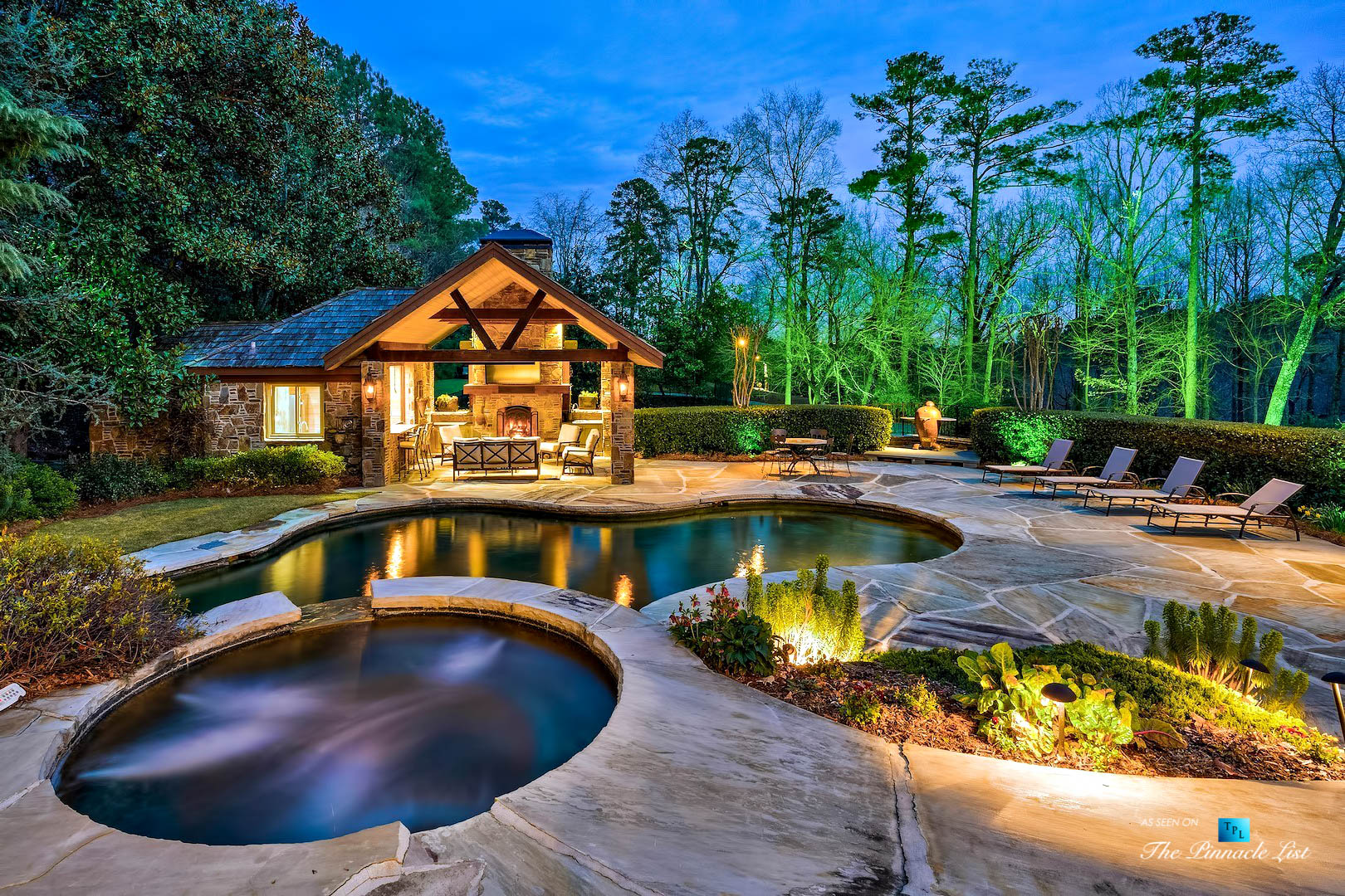 75 Finch Forest Trail, Atlanta, GA, USA – Evening Backyard Pool View – Luxury Real Estate – Sandy Springs Home