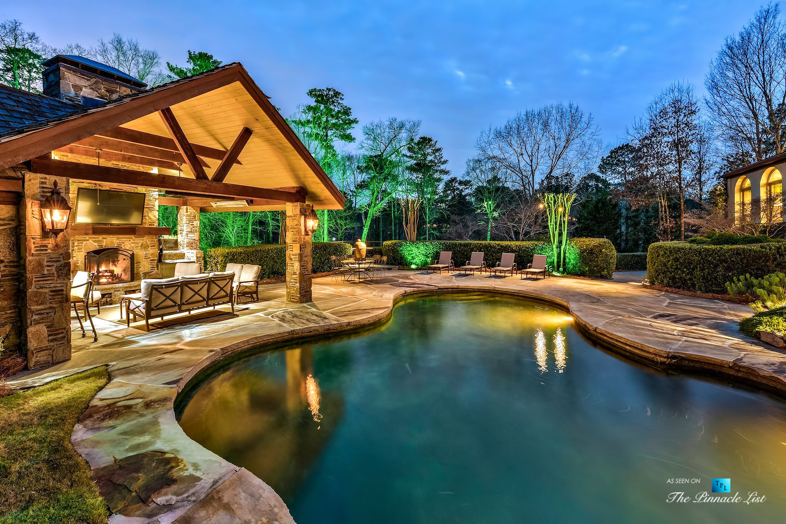 75 Finch Forest Trail, Atlanta, GA, USA - Evening Backyard Pool View - Luxury Real Estate - Sandy Springs Home