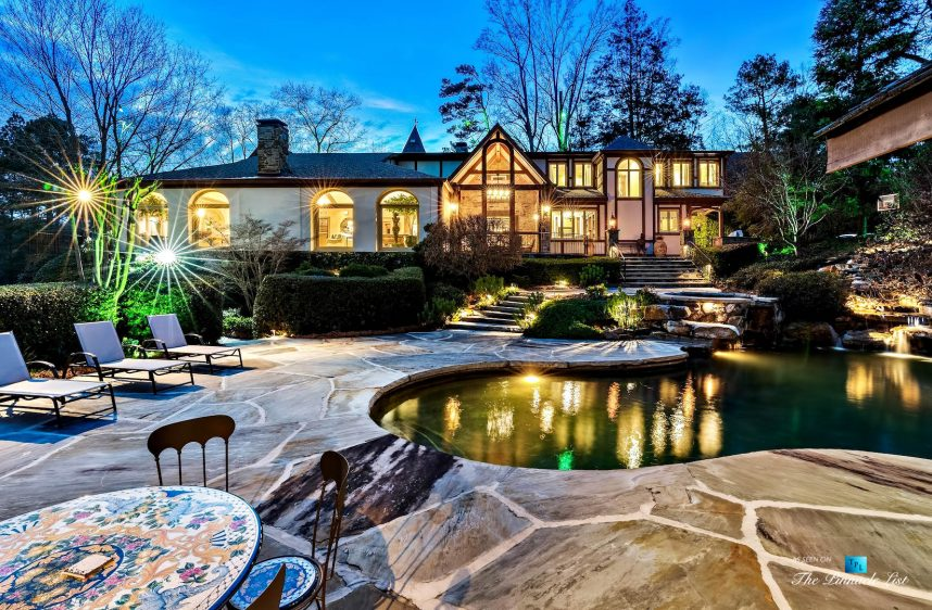 75 Finch Forest Trail, Atlanta, GA, USA - Night Backyard Pool View - Luxury Real Estate - Sandy Springs Home