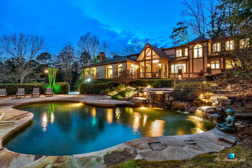 75 Finch Forest Trail, Atlanta, GA, USA - Night Backyard Property Pool View - Luxury Real Estate - Sandy Springs Home