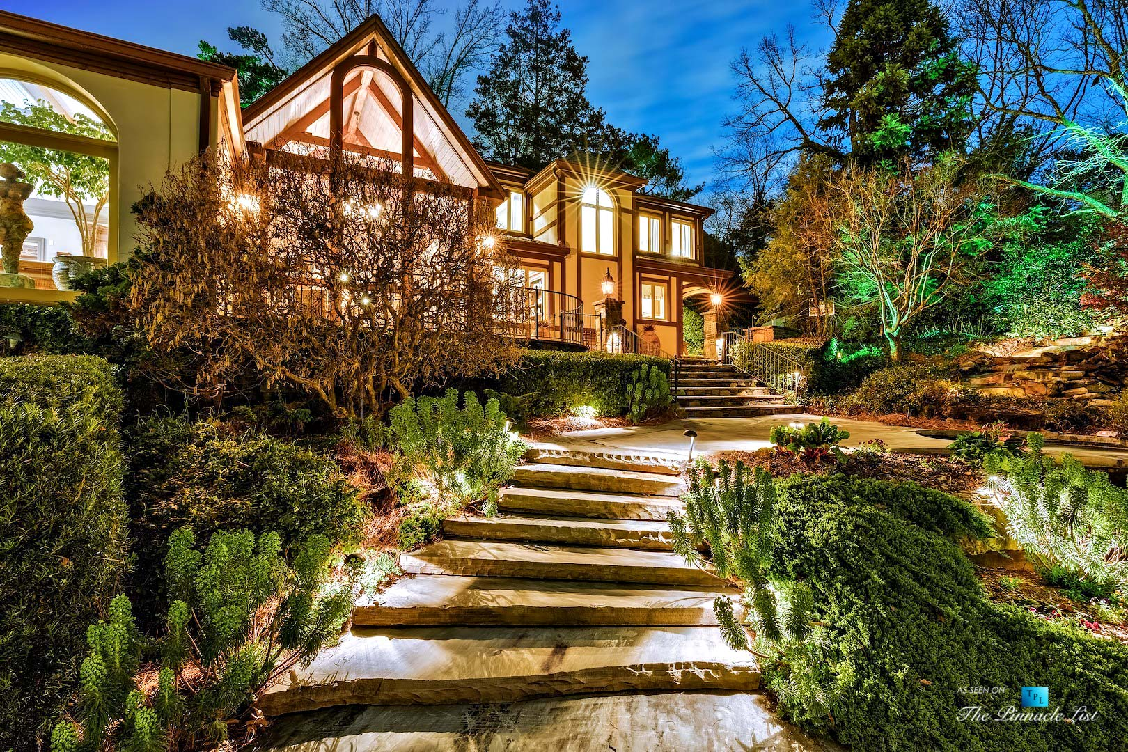 75 Finch Forest Trail, Atlanta, GA, USA – Night Property Stairs View – Luxury Real Estate – Sandy Springs Home