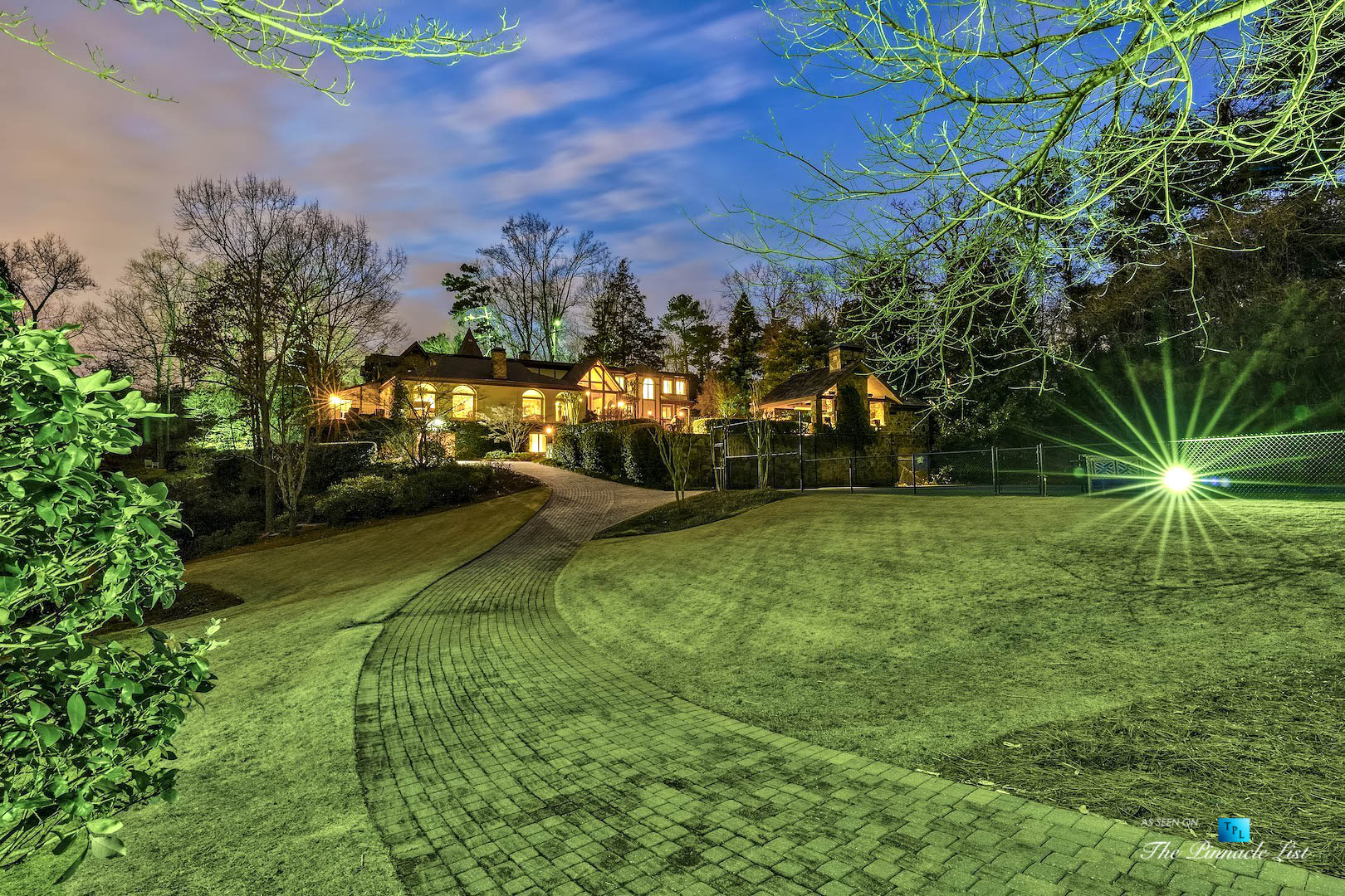 75 Finch Forest Trail, Atlanta, GA, USA - Night Yard Property View - Luxury Real Estate - Sandy Springs Home