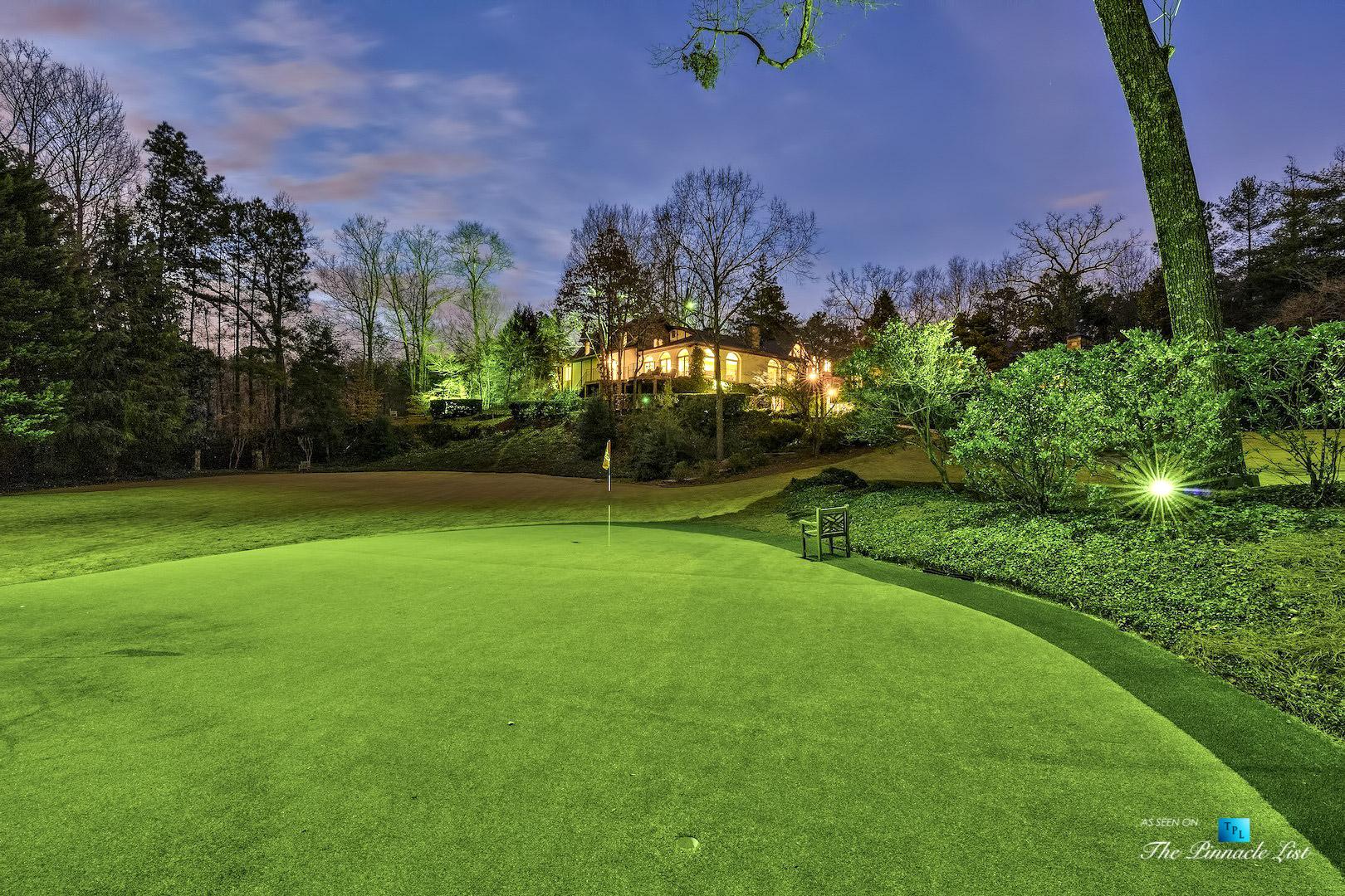 75 Finch Forest Trail, Atlanta, GA, USA – Night Backyard Golf Putting Green – Luxury Real Estate – Sandy Springs Home