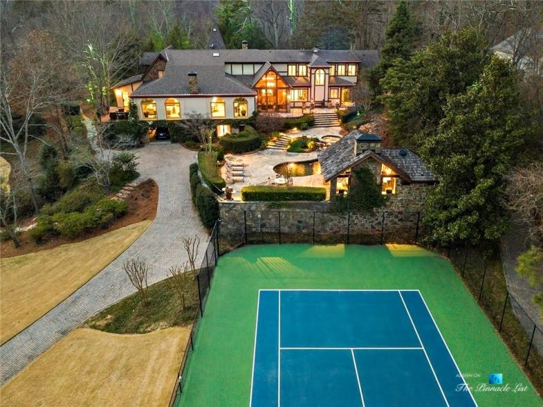 75 Finch Forest Trail, Atlanta, GA, USA - Night Backyard Tennis Court View - Luxury Real Estate - Sandy Springs Home