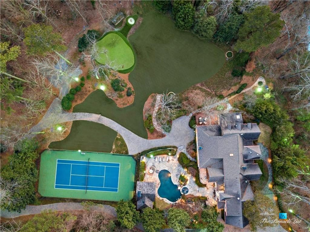 75 Finch Forest Trail, Atlanta, GA, USA - Drone Night Overhead House and Property View - Luxury Real Estate - Sandy Springs Home
