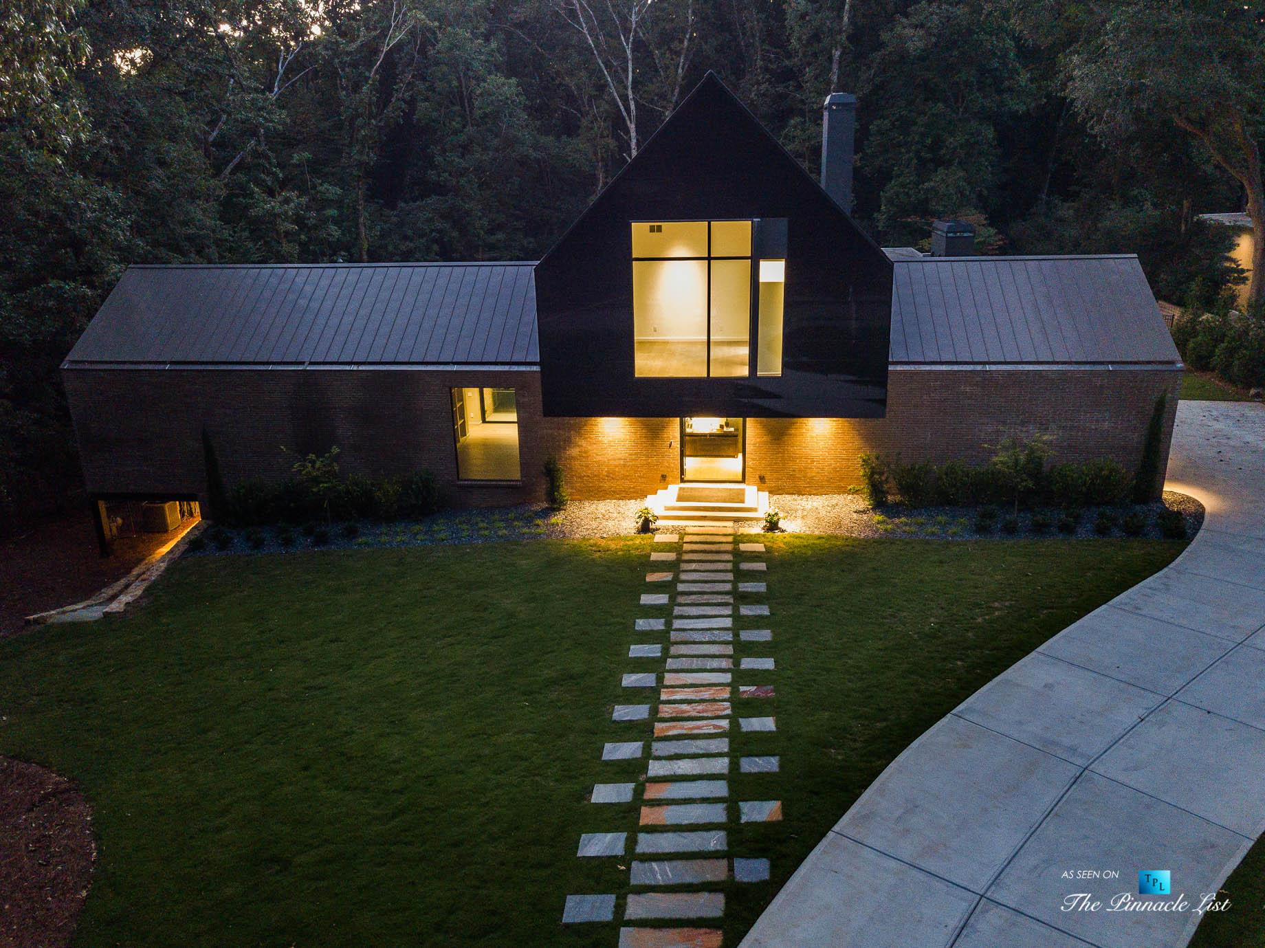 2716 Ridgewood Rd NW, Atlanta, GA, USA – Drone Night Front House Exterior View – Luxury Real Estate – Modern Contemporary Buckhead Home