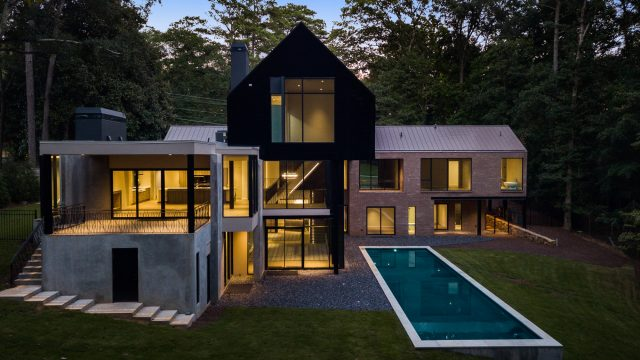 2716 Ridgewood Rd NW, Atlanta, GA, USA - Drone Aerial Night Backyard Pool View - Luxury Real Estate - Modern Contemporary Buckhead Home