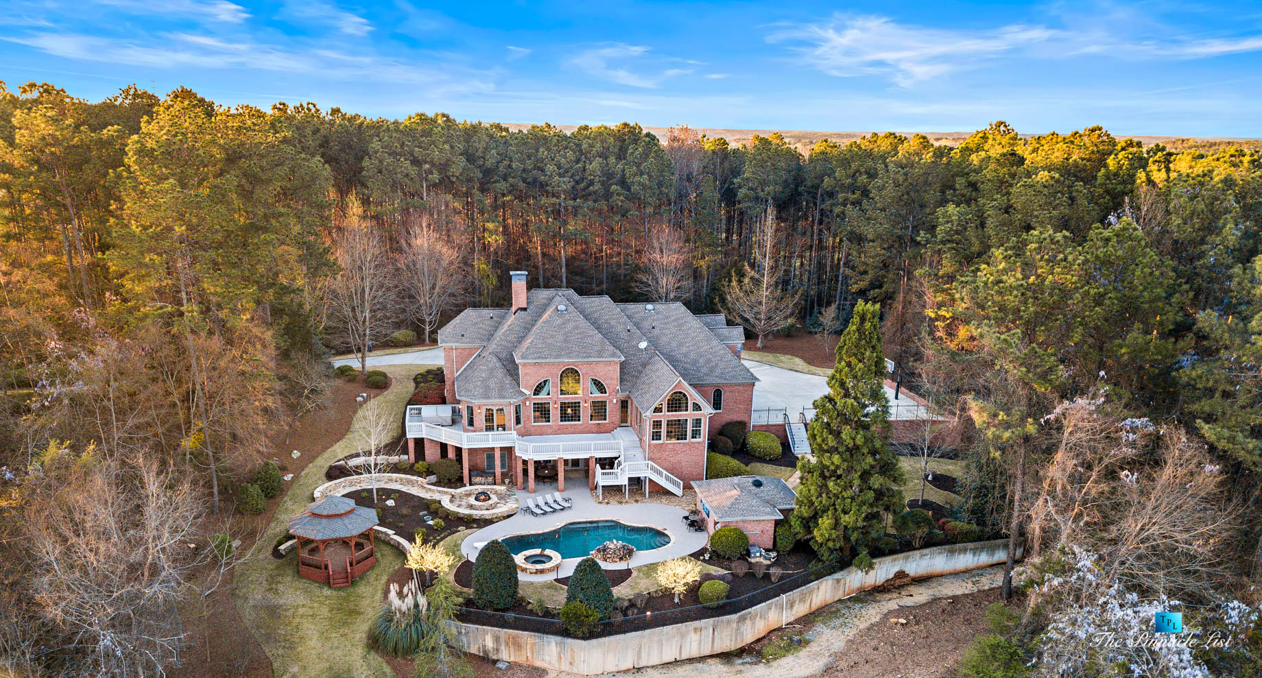 2219 Costley Mill Rd NE, Conyers, GA, USA – Drone Aerial Backyard Property View – Luxury Real Estate – Equestrian Country Home