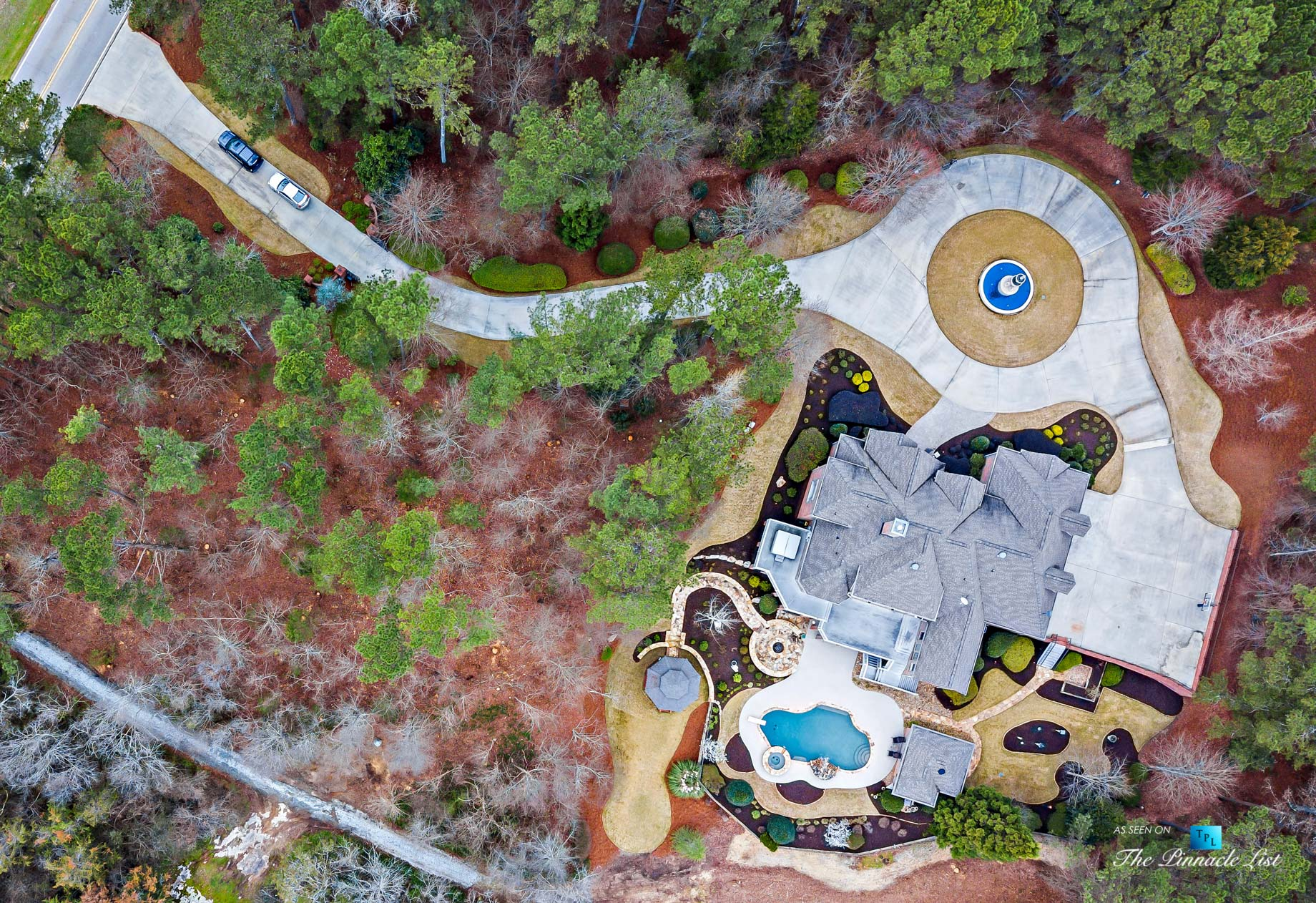 2219 Costley Mill Rd NE, Conyers, GA, USA – Drone Aerial Overhead Property View – Luxury Real Estate – Equestrian Country Home