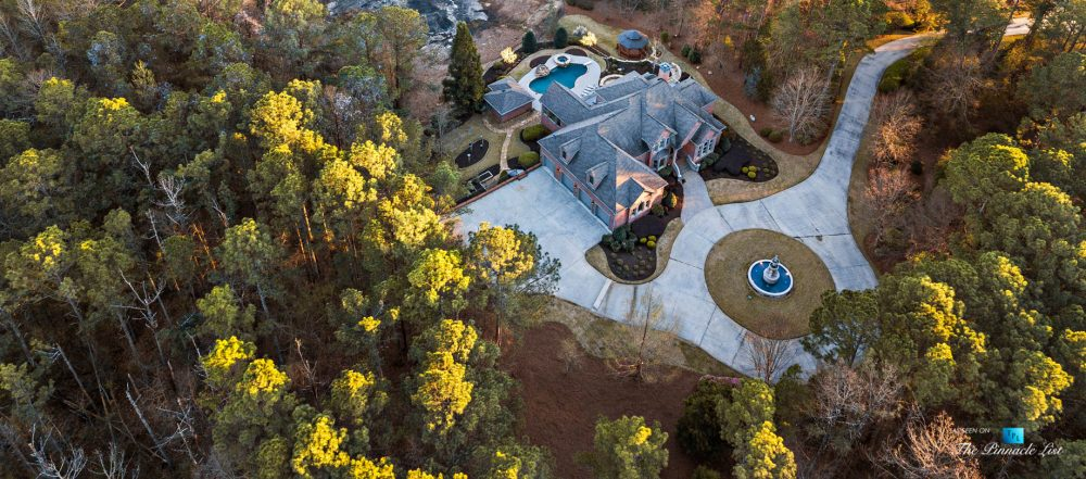 2219 Costley Mill Rd NE, Conyers, GA, USA - Drone Aerial Overhead Property Fountain View - Luxury Real Estate - Equestrian Country Home