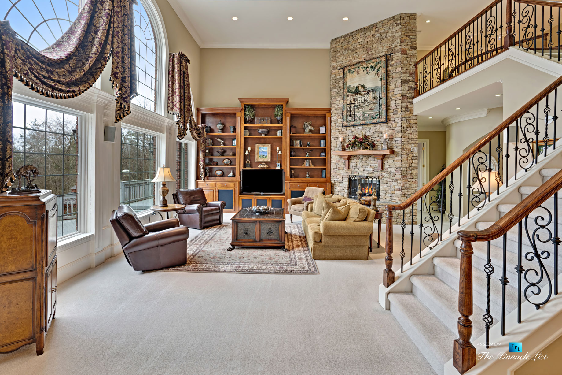 2219 Costley Mill Rd NE, Conyers, GA, USA - Living Room with Fireplace - Luxury Real Estate - Equestrian Country Home